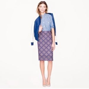 J Crew No. 2 Pencil Skirt With Medallion Print